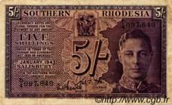 5 Shillings RHODÉSIE DU SUD  1943 P.08 TB