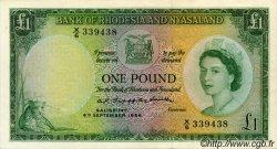 1 Pound RHODÉSIE ET NYASSALAND  1956 P.21a pr.SUP