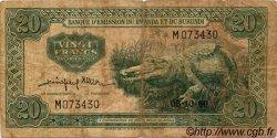 20 Francs RWANDA BURUNDI  1960 P.03 B