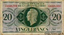 20 Francs SAINT PIERRE ET MIQUELON  1943 P.12 TB