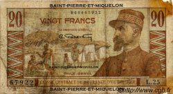 20 Francs SAINT PIERRE ET MIQUELON  1946 P.24 B