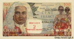 2 NF sur 100 Francs La Bourdonnais SAINT PIERRE ET MIQUELON  1960 P.32 SPL