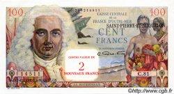 2 NF sur 100 Francs SAINT PIERRE ET MIQUELON  1960 P.32 NEUF