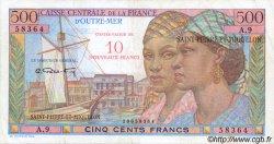 10 NF sur 500 Francs Pointe à Pitre SAINT PIERRE ET MIQUELON  1960 P.33 TTB
