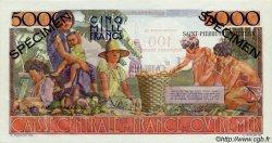 100 Nouveaux Francs sur 5000 Francs Schoelcher SAINT PIERRE ET MIQUELON  1960 P.35s pr.NEUF