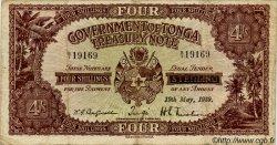 4 Shillings TONGA  1939 P.05 TB+