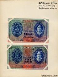20 Kronen (la paire) AUTRICHE  1907 P.010s SUP
