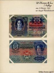 20 Kronen (la paire) AUTRICHE  1913 P.052s TTB