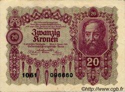 20 Kronen AUTRICHE  1922 P.076 TTB