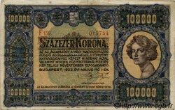 100000 Korona HONGRIE  1923 P.072a TB+