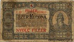 8 Filler sur 1000 Korona HONGRIE  1925 P.081b B