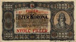 8 Filler sur 1000 Korona HONGRIE  1925 P.081b TTB+