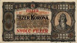 8 Filler sur 1000 Korona HONGRIE  1925 P.081b SUP
