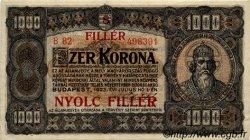 8 Filler sur 1000 Korona HONGRIE  1925 P.081b SPL