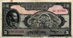 5 Dollars ÉTHIOPIE  1945 P.13a TTB