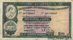 10 Dollars HONG KONG  1972 P.182g pr.TB