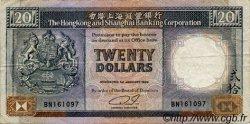 20 Dollars HONG KONG  1989 P.192c TB à TTB