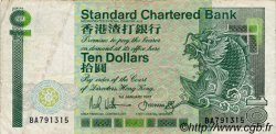 10 Dollars HONG KONG  1987 P.278b TTB