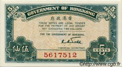5 Cents HONG KONG  1941 P.314 NEUF