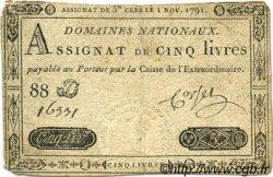 5 Livres FRANCE  1791 Laf.145 TB