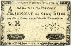 5 Livres FRANCE  1792 Laf.156 TTB