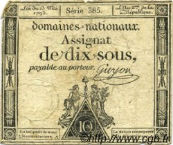 10 Sous FRANCE  1793 Laf.165 B+