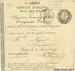 50 Francs FRANCE régionalisme et divers LES RICEYS 1872 JER.10.08B TTB+