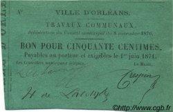 50 Centimes FRANCE régionalisme et divers ORLÉANS 1870 JER.45.04A SUP