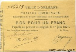 1 Franc FRANCE régionalisme et divers Orléans 1870 JER.45.04B SUP