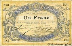 1 Franc FRANCE régionalisme et divers Lille 1870 JER.59.40A TTB