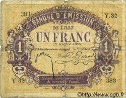 1 Franc FRANCE régionalisme et divers Lille 1870 JER.59.41A B