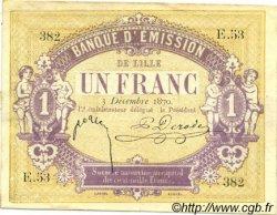1 Franc FRANCE régionalisme et divers Lille 1870 JER.59.41A TTB