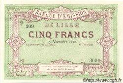 5 Francs FRANCE régionalisme et divers Lille 1870 JER.59.41B NEUF