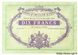 10 Francs FRANCE régionalisme et divers Arras 1870 JER.62.02C NEUF