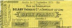 2 Francs FRANCE régionalisme et divers COURCELLES-LEZ-LENS 1870 JER.62.13C NEUF