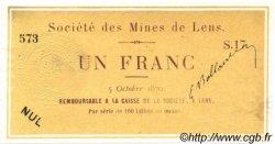 1 Franc FRANCE régionalisme et divers LENS 1870 JER.62.17B SPL