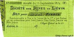 10 Francs FRANCE régionalisme et divers LIÉVIN 1870 JER.62.18C TTB+