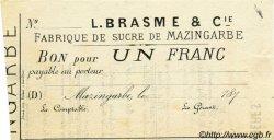 1 Franc FRANCE régionalisme et divers Mazingarbe 1870 JER.62.20A TTB+