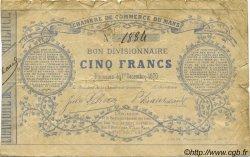 5 Francs FRANCE régionalisme et divers Le Mans 1870 JER.72.01B TB+