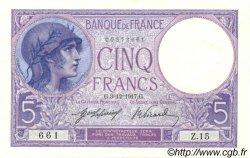 5 Francs VIOLET FRANCE  1917 F.03.01 pr.NEUF