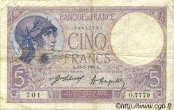 5 Francs VIOLET FRANCE  1921 F.03.05 TB