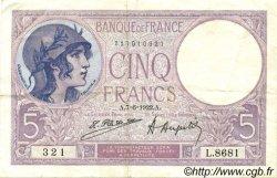 5 Francs VIOLET FRANCE  1922 F.03.06 TTB+