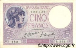 5 Francs VIOLET FRANCE  1923 F.03.07 pr.SUP