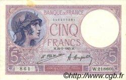 5 Francs VIOLET FRANCE  1925 F.03.09 TTB+