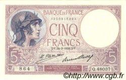 5 Francs VIOLET FRANCE  1932 F.03.16 pr.SPL