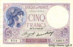 5 Francs VIOLET FRANCE  1933 F.03.17 TTB+