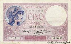 5 Francs VIOLET modifié FRANCE  1939 F.04 TTB