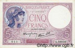5 Francs VIOLET modifié FRANCE  1939 F.04.02 SUP