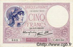 5 Francs VIOLET modifié FRANCE  1939 F.04.08 SUP