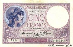 5 Francs VIOLET modifié FRANCE  1939 F.04.14 SUP+